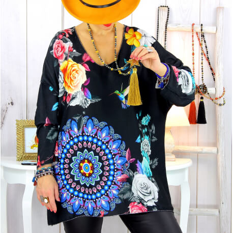 Pull tunique maille douce grande taille WILLO M22 Pull tunique femme