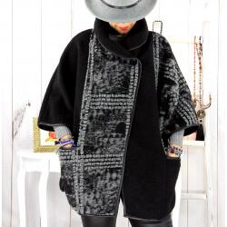Cape veste laine bouillie grande taille noire ELYO Cape laine femme