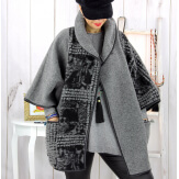 Cape veste laine bouillie grande taille grise ELYO Cape laine femme