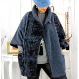 Cape veste laine bouillie grande taille bleue ELYO Cape laine femme