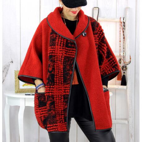 Cape veste laine bouillie grande taille rouge ELYO Cape laine femme