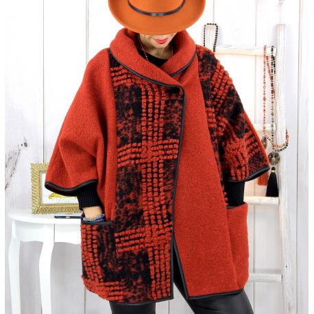 Cape veste laine bouillie grande taille rouille ELYO Cape laine femme