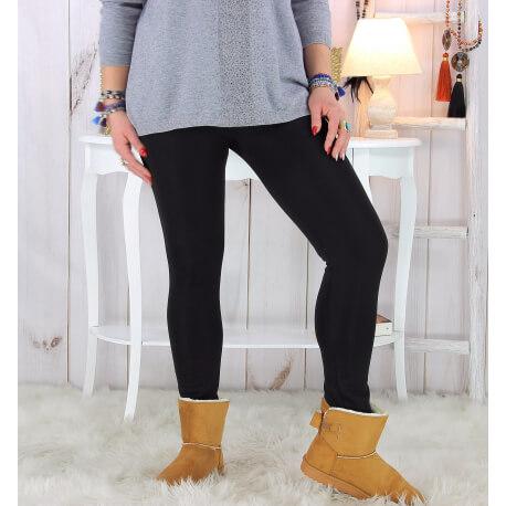 Leggings grande taille polaire lycra BERENICE Noir Legging femme