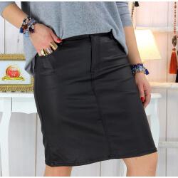Jupe noire simili cuir femme grande taille stretch PANAO Jupe femme grande taille