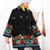Manteau laine brodé femme grande taille hiver CALIOU Manteau femme