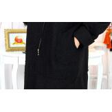 Manteau hiver capuche bouclette grande taille noir VITTO Manteau femme grande taille
