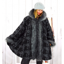 Manteau femme grande taille capuche laine hiver EMILIO Manteau femme grande taille