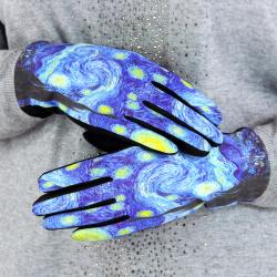 Gants femme hiver tactiles suédine polaire tableau L4 Gants femme