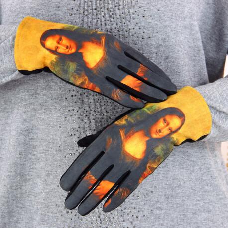 Gants femme hiver tactiles suédine polaire tableau L2 Gants femme