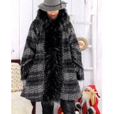 Manteau femme grande taille capuche laine hiver JULIETTE Manteau femme grande taille