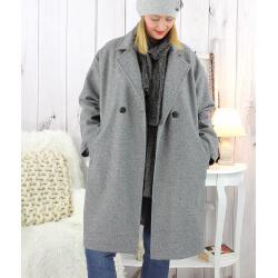 Manteau croisé effet cachemire hiver gris SPESSO Manteau femme grande taille