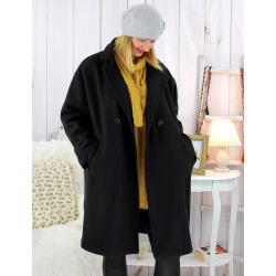 Manteau croisé effet cachemire hiver noir SPESSO Manteau femme grande taille
