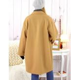 Manteau croisé effet cachemire hiver camel SPESSO Manteau femme grande taille