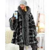 Manteau femme grande taille capuche laine hiver IRENA Manteau femme grande taille