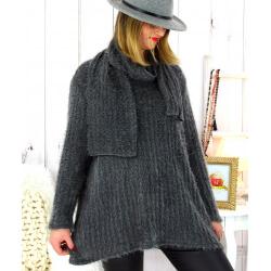 Pull tunique +écharpe maille poilue gris KELLY Pull tunique femme