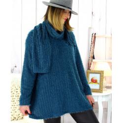 Pull tunique +écharpe maille poilue bleu pétrole KELLY Pull tunique femme