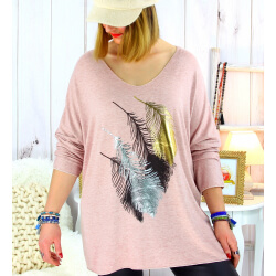 Pull tunique grande taille plumes rose METEOR Pull tunique femme