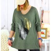 Pull tunique grande taille plumes kaki METEOR Pull tunique femme