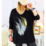 Pull tunique grande taille plumes noir METEOR Pull tunique femme