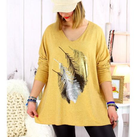 Pull tunique grande taille plumes moutarde METEOR Pull tunique femme