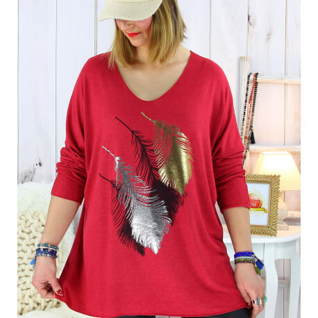 Pull tunique grande taille plumes bordeaux METEOR Pull tunique femme