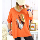 Pull tunique grande taille plumes orange METEOR Pull tunique femme