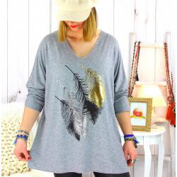 Pull tunique grande taille plumes gris METEOR Pull tunique femme