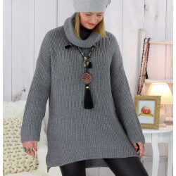 Pull femme grande taille grosse maille gris SLAM Pull femme grande taille