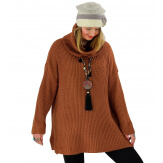 Pull femme grande taille grosse maille rouille SLAM Pull femme grande taille