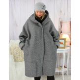 Manteau hiver capuche bouclette grande taille gris clair VITTO Manteau femme grande taille