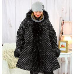Manteau femme grande taille capuche laine hiver SCALA Manteau femme grande taille