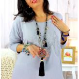 Sautoir long perles verre pompon arbre de vie C171 Bijoux fantaisie