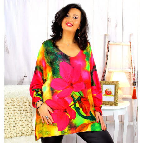 Pull tunique maille douce femme grande taille WILLO M64 Pull femme grande taille