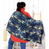 Écharpe étole châle femme laine imprimée MANET déjeuner Écharpe laine femme