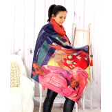 Écharpe étole châle femme laine imprimée GAUGUIN Tahiti Écharpe laine femme