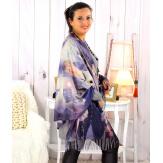Écharpe étole châle femme laine imprimée MANET folies Écharpe laine femme