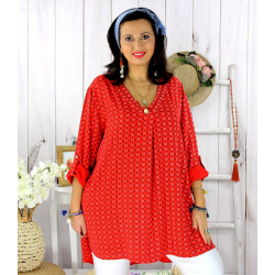 Tunique longue grande taille tencel SCOLA rouge Tunique femme grande taille