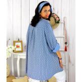 Tunique longue grande taille tencel SCOLA bleue Tunique femme grande taille