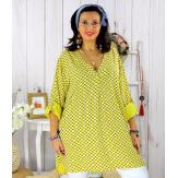 Tunique longue grande taille tencel SCOLA jaune Tunique femme grande taille