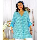 Tunique longue grande taille tencel SCOLA turquoise Tunique femme grande taille