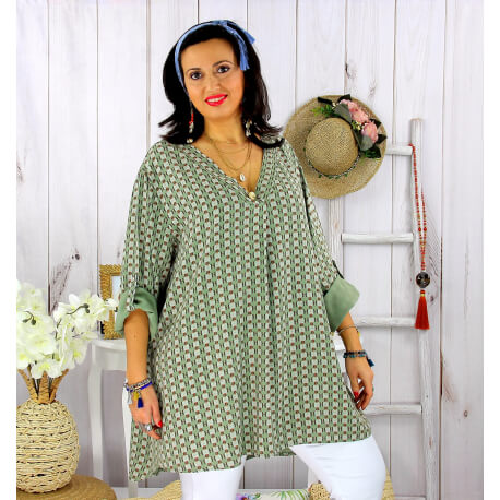 Tunique longue grande taille tencel SCOLA kaki Tunique femme grande taille