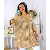 Tunique longue grande taille tencel SCOLA camel Tunique femme grande taille