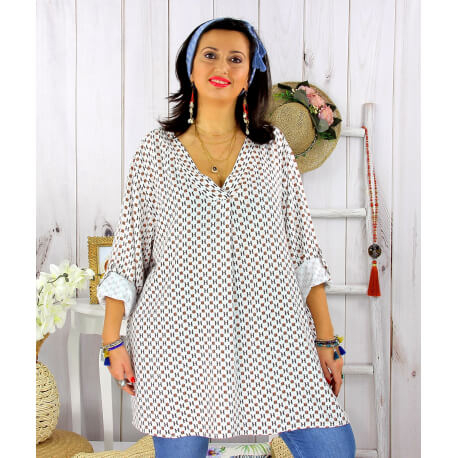 Tunique longue grande taille tencel SCOLA blanc Tunique femme grande taille