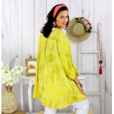 Tunique longue grande taille tencel GIMANI jaune Tunique femme grande taille