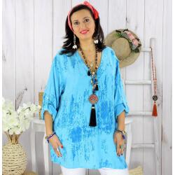 Tunique longue grande taille tencel GIMANI turquoise Tunique femme grande taille