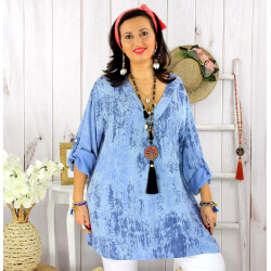 Tunique longue grande taille tencel GIMANI bleue Tunique femme grande taille