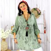 Tunique longue grande taille tencel GIMANI kaki Tunique femme grande taille