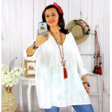 Tunique longue grande taille tencel GIMANI blanche Tunique femme grande taille