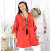 Tunique longue grande taille tencel GIMANI rouge Tunique femme grande taille