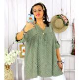 Tunique longue grande taille tencel EPOLYNE kaki Tunique femme grande taille